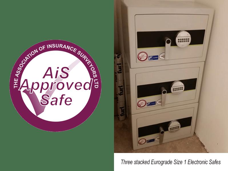 Association of Insurance Surveyors & Three stacked Eurograde 1 Size 1 Electronic Safes